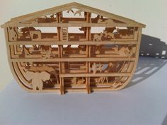 """Noah's ark.  1/8"""" Baltic birch plywood finished with boiled linseed oil."""