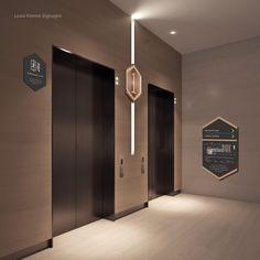 LOUIS KIENNE HOTEL – WAYFINDING SYSTEM – Kaze Lim Hotel Signage, Door Signage, Wayfinding Signs, Lobby Design, Hall Design, Signage Design, Lift Design, Cabin Design, Ada Signs