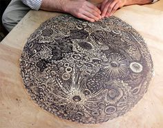Carving the Moon by Tugboat Printshop: Handcarved relief print.  #Woodcut #Moon #Tugboat_Printshop
