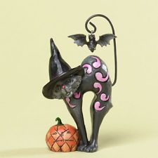 Halloween Black Cat with Pumpkin figurine by JIM SHORE NEW