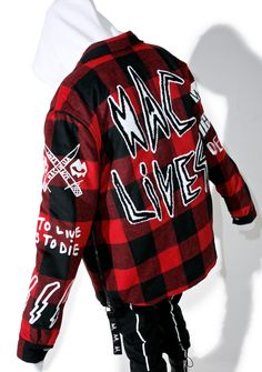 Haculla Punkwork Button-Up Overshirt ...let's raise hell all night and then go there together, yeah? This gnarly button-up features a thick red 'N black plaid wool construction, fully lined interior, boxy oversized fit, chest pockets, giant lettering across tha back declaring 'HAC LIVES,' snap button front closure, and sikk graphics praising death all over inspired by the artwork of street artist Harif Guzman.