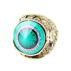 Unique Retro Conical Section Carved Emerald Ring - buy for USD0.99