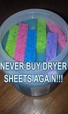 Never buy dryer sheets again! A container with an airtight lid (use a food storage bowl w/screw on lid) sponges (use small, thin, cheap ones) 2 cups fabric softener (any brand/'flavor') cups water Diy Cleaners, Cleaners Homemade, Household Cleaners, House Cleaners, Poo Pourri, House Cleaning Tips, Cleaning Hacks, Cleaning Solutions, Diy Hacks