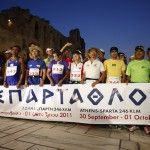 Runners at the start of Spartathlon 2011