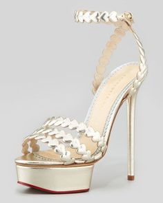 I Heart You Metallic Platform Sandal, Platinum by Charlotte Olympia at Neiman Marcus.