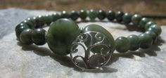 Jade Mala Bracelet prayer beads rosary with Silver by LotusJewels, $19.99