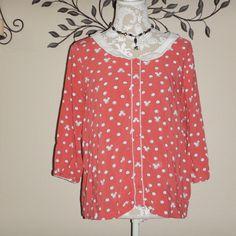 Disney Collection Lauren Conrad Peter Pan Collar Blouse Pink Mickey Dots Size XL #Disney #Blouse