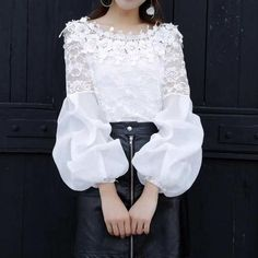 Sexy Fashion Off-Shoulder Pure Colour Lace Bishop Sleeve Top – Sheinstreet. Source by blouses 2019 Sleeve Designs, Blouse Designs, Bishop Sleeve, Long Sleeve Tunic, Blouses For Women, Fashion Dresses, Fashion Design, Fashion Tips, Stylish