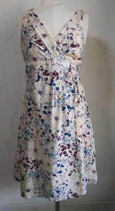 Patagonia Sundress 14 Sleeveless Mock Wrap Blue Burgundy Flowers Organic Cotton #Patagonia #WrapDress #Casual