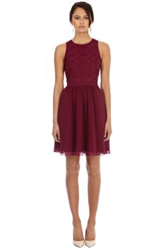 Dresses | Purple MESH EMBROIDERED DRESS | Warehouse