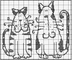 Филейное вязание кошки