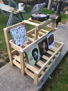 Record Player & Vinyl Storage Unit