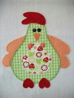 I see a mug rug chicken for my kitchen--db Sewing Appliques, Applique Patterns, Applique Quilts, Applique Designs, Quilt Patterns, Rooster Craft, Sewing Crafts, Sewing Projects, Chicken Quilt