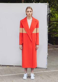 Unisex Double-Breasted Coat With Stripe Inserts | Marianna Senchina | NOT JUST A LABEL