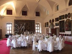 White #wedding#decoration# of the #castle#hall# for your #winter wedding