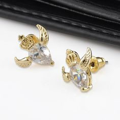 Fashion Women Gold Crystal Crown Wings Bird Ear Stud Girls Earrings Jewelry Gift #UnbrandedGenenic #Stud