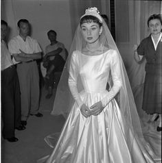 """ Audrey tries on wedding dress, Rome,1952 """