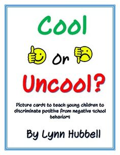 "This FREEBIE ""Cool or Uncool"" Picture Cards can be used to teach younger students to discriminate positive from negative school behaviors. It offer. Elementary Counseling, Counseling Activities, School Counselor, Therapy Activities, Behaviour Management, Classroom Management, Teaching Social Skills, School Social Work, Guidance Lessons"