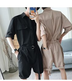 Summer hip hop Short Sleeve Rompers Male Loose Tooling Jumpsuit Cotton Punk baggy Overalls Men Street dancing bib pants Overalls from Men's Clothing & Accessories on Overalls Outfit, Cool Outfits, Fashion Outfits, Dance Outfits, Korean Fashion Men, Men Fashion, Mode Vintage, Casual Dresses For Women, Aesthetic Clothes