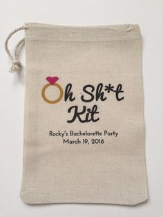 Our handmade favor bags are perfect for your guests at your bachelorette party as a way of saying thank you! Our favor bags are made from 100% muslin cotton and because each and every bag is heat transferred by us, there can be slight differences.  Design: Oh Sh*t Kit  Approximate Sizes Available (in inches): 4x6 white hem, 5x7 red hem, 6x8 white hem, 6x10 white hem  Quantity: 1 quantity comes with 10 favor bags  Individual Bag Add Ons: If you need individual bags so you can have a total of…