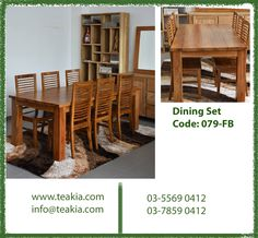 Teak wood dining set: Code: 079-FB  For inquries call us at 03-78590412 or mail us at info@teakia.com