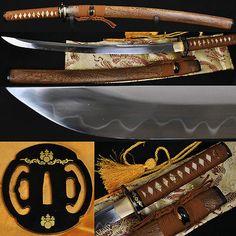 "31"" JAPANESE SAMURAI SWORD WAKIZASHI Clay Tempered UNOKUBI-ZUKURI Blade Sharp"