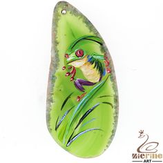 Fashion Pendant Hand Painted frog Natural Gemstone  necklace  ZL800964 #ZL #Pendant