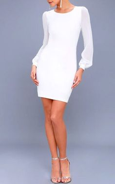 Poetic Love White Mesh Long Sleeve Bodycon Dress #bodycondresslongsleeve