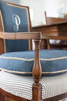 Monogrammed head chairs for dining room. Love this idea for the arm chairs only.