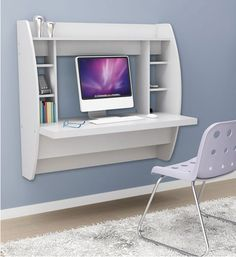 wall mounted desk | ... Furniture > Desks & Hutches > Wall Mounted Desk with Storage - White