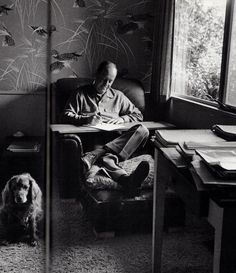 painting box - Ross MacDonald, creator of the Lew Archer detective books, hard at work. 1974. Photo: Jill Krementz