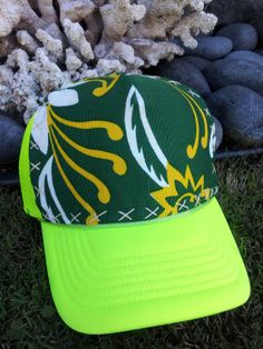 Trucker Hat Neon Yellow w/Hand Stitched Fabric by AumoanaDesigns, $25.00