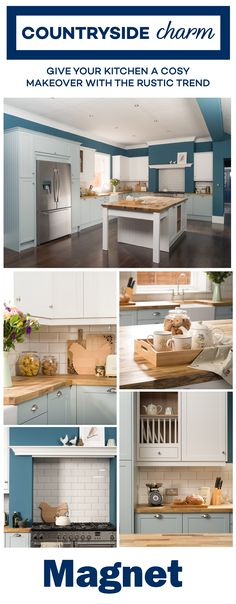 Give your kitchen a cosy makeover with the rustic trend's traditional wooden worktops, classic cream crockery, tempting cookie jars and farmhouse inspired accessories. Kitchen Dining Living, Kitchen Family Rooms, Kitchen Units, New Kitchen, Country Kitchen, Buy My House, House 2, Kitchen Colors, Kitchen Designs