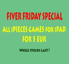 Fiver Friday Special All iPieces Games for iPad worth between - Eur for While Stocks Last! Toy Store, Ipad, Friday, Games, Kids, Young Children, Boys, Gaming, Children