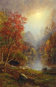Welcome Autumn with Jasper Cropsey's Colorful Landscape Paintings Cool Landscapes, Landscape Paintings, Oil Painting Gallery, Hudson River School, Autumn Painting, National Gallery Of Art, Oil Painting Reproductions, Arte Floral, Cool Paintings