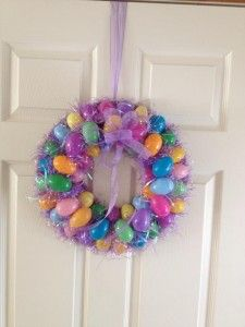 DIY Easter wreath. :) Super inexpensive and fun to make!
