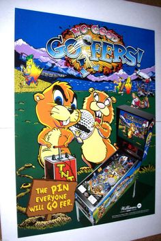 "NO GOOD GOFERS WILLIAMS 1997 ORIGINAL NOS PINBALL MACHINE 32"" X 24"" PROMO POSTER #NoGoodGofers #PinballPoster"