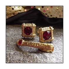 Vintage Cufflinks w T Clasp Lord Newport Gold Nugget Ruby Crystals ($65) via Polyvore