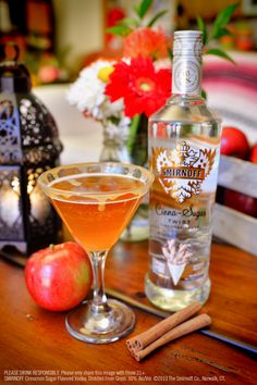 Smirnoff Cinna Sugar Twist Apple Cider with 1.5 oz Smirnoff Cinna-Sugar Twist Flavored Vodka, 2.5 oz apple cider and caramel sauce. Rim martini glass with caramel sauce. Fill cocktail shaker with ice and liquid ingredients. Shake then strain into glass. Garnish with a cinnamon stick and/or apple slice (optional). #Smirnoff #Fall #drink #recipe