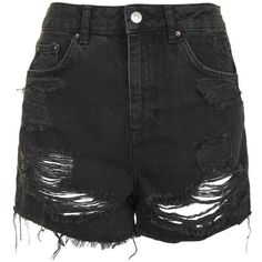 Topshop Moto High Waisted Rip Mom Short (130 BRL) ❤ liked on Polyvore featuring shorts, bottoms, short, topshop, washed black, high waisted shorts, distressed high waisted shorts, high waisted ripped shorts, short jean shorts and high waisted jean shorts