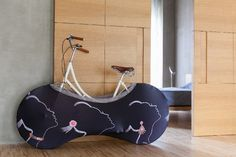 Innovative Bicycle Cover Helping You Keep Your Room Clean: Velo Sock [Video] - http://freshome.com/2014/09/18/innovative-bicycle-cover-helping-you-keep-your-room-clean-velo-sock-video/