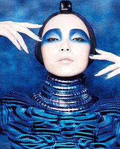 Electric Blue Eyes, and Nude Lips, via Fashion Bird Tumblr. Editorial Makeup.