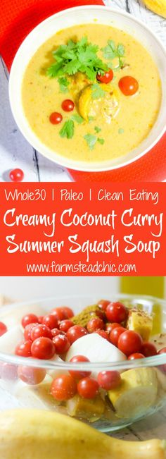This Paleo and Whole30 Creamy Curry Summer Squash Soup is creamy, spicy and bursting with flavor yet still healthy, dairy free and gluten free.