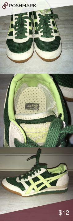Green and Lime Tiger Shoes Barely worn No pets/no smoking Onitsuka Tiger by Asics Shoes Athletic Shoes