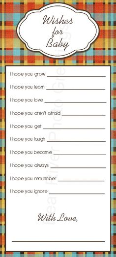 Wishes For Baby -- Printable Baby Shower Game