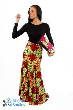 African Fashion Kitenge long red yellow green skirt