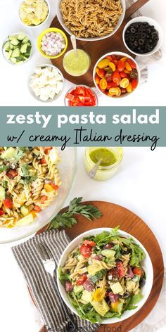 This easy pasta salad recipe features a creamy, homemade Italian dressing that everyone will love! It's the perfect summer side dish and a great way to use leftover pasta. Easy Pasta Salad Recipe, Healthy Pasta Recipes, Healthy Pastas, Healthy Side Dishes, Real Food Recipes, Vegetarian Recipes, Side Salad Recipes, Side Dish Recipes, Sandwich Recipes