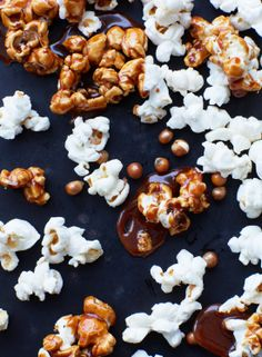 salted caramel ice cream with caramel popcorn