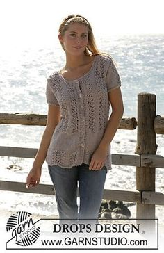 "Cape Lookout - DROPS cardigan with short sleeves knitted in lace pattern with ""Silke-Alpaca"". - Free pattern by DROPS Design Knit Cardigan Pattern, Sweater Knitting Patterns, Lace Knitting, Knitting Designs, Crochet Patterns, Drops Design, Free Knitting Patterns For Women, Short Sleeve Cardigan, Short Sleeves"