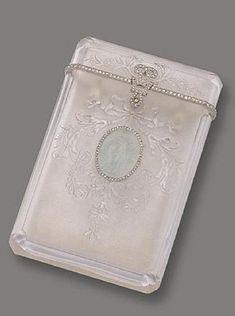 Rock Crystal, Aquamarine Cameo and Diamond card case, Janesich, Paris, Circa 1910